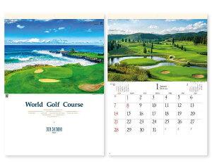 【名入れ50冊】 カレンダー 2021年 壁掛け 世界のゴルフコース SG-463 令和3年 月めくり 月表 送料無料 社名 団体名 自社印刷 名入れ無し 無印 日本 挨拶 開業 年賀 粗品 記念品 イベント 贈答