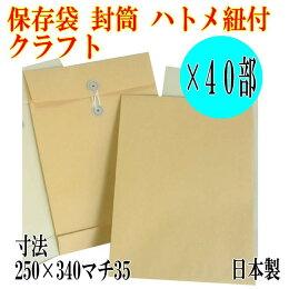保存袋(ボックス)封筒★クラフト★ハトメ紐付