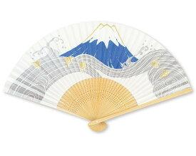 扇子 絵付 白竹中彫 パール地 富士 紳士用 香り付 名入れ/桐箱可 FU-502 男性用 メンズ