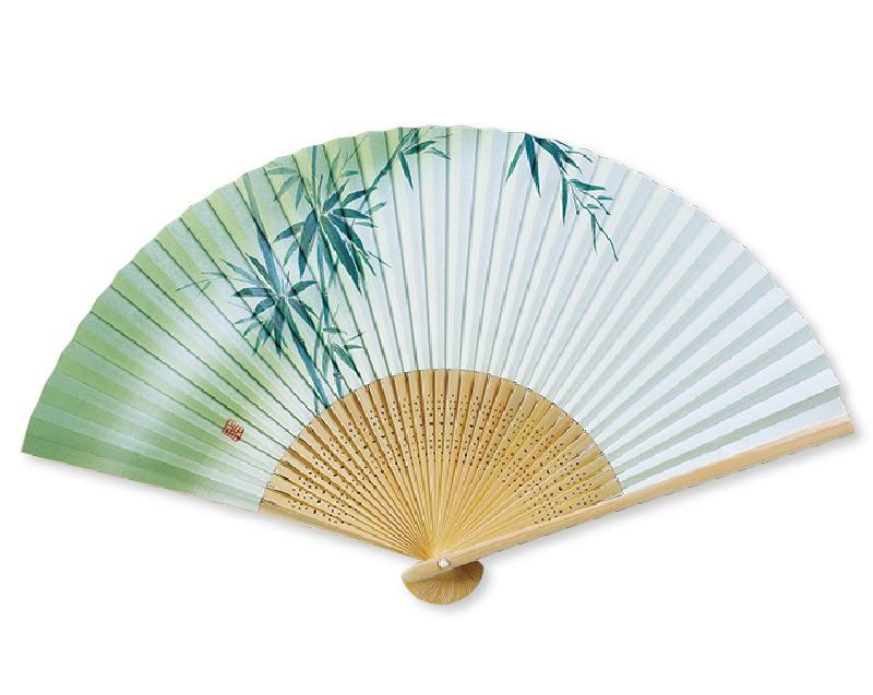 扇子 紙 白竹中彫 緑竹 紳士用 香り付 名入れ/桐箱可 FU-5706 男性用 メンズ