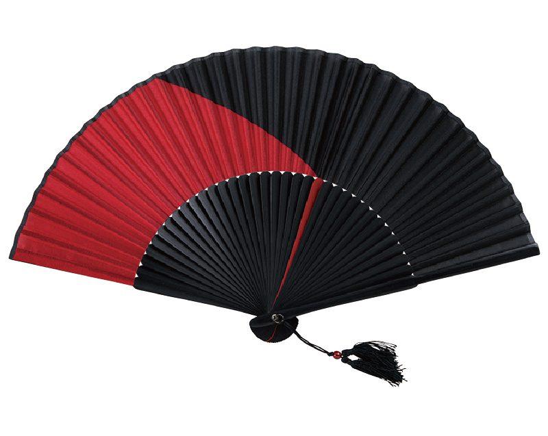 【名入れ印刷 30本】 扇子 上竹骨 黒染 ツートンシルク 赤 FU-5833 男性用 メンズ 女性用 レディース 送料無料