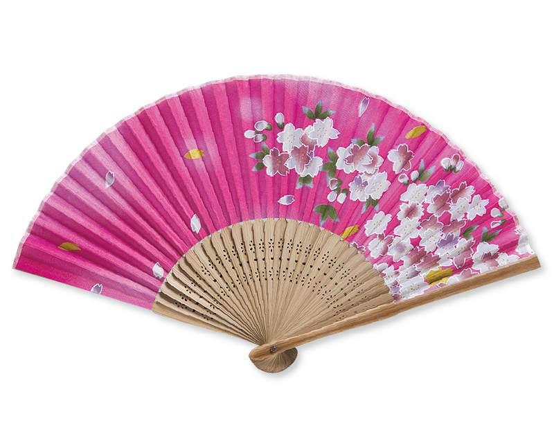扇子 和柄 唐木中彫 桜 ピンク 名入れ/桐箱可 FU-5892 男性用 メンズ 女性用 レディース
