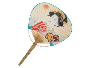 【名入れ印刷 50本】 竹 うちわ 平柄 赤 波祭り 団扇 KG-117
