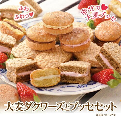 【2つの食感が楽しめる】大麦ダクワーズとブッセセット(10種12個入)【大麦工房ロア直営店】