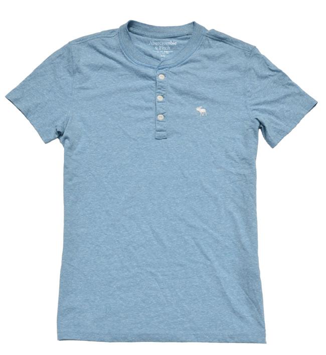 アバクロ / abercrombie&fitch ◆正規品・本物◆メンズTシャツ ボタン◆ライトブルー【あす楽対応】【正規品】