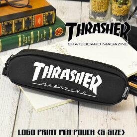 THRASHER スラッシャー ペンケース Sサイズ ポーチ スクエア メンズ レディース 男女兼用 ユニセックス ブラック STREET HIPHOP R&B 74605101 文房具