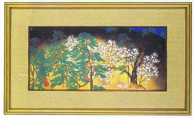 日本画・日本画家・横山大観『夜桜』右隻 限定版シルクスクリーン・特別限定工藝画・贈答品・お祝いの品・長寿祝い・引越祝い・開業祝い・開院祝い・誕生日・新築祝い