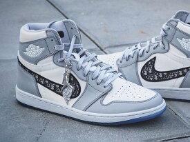 【国内配送】DIOR × Nike Air Jordan 1 HIGH OG ディオール ナイキ エアジョーダン1 コラボレーションモデル ハイカット スニーカー グレー 選べる サイズ 新品未使用 最新 人気 靴 稀少