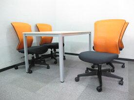 送料無料 新品 「4人用 会議セット」 ミーティングセット W1200mm テーブル + オフィスチェア