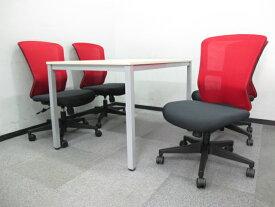 送料無料 新品 「4人用 会議セット」 ミーティングセット W1500mm テーブル + オフィスチェア