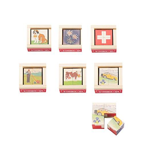 六面体パズル・4pcs・ミニスイス 知育玩具 3歳 4歳 5歳 キューブパズル 幼児 アトリエ・フィッシャー 木のおもちゃ 木製 知育 男の子 女の子 玩具 オモチャ パズル 子ども キューブ 誕生日