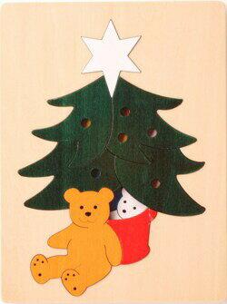 2重パズル・クリスマスツリー パズル 木 木製 木のおもちゃ 幼児