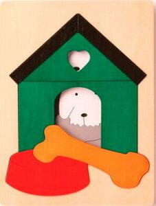 2重パズル・いぬ小屋 パズル 木 木製 木のおもちゃ 幼児