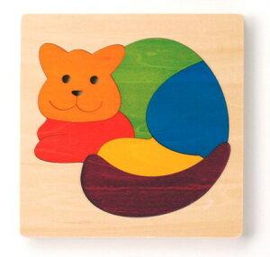 カラフルパズル・ねこ パズル 木 木製 木のおもちゃ 幼児