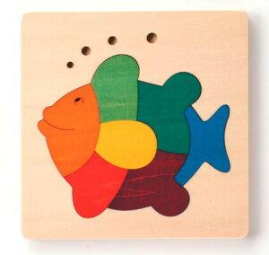 カラフルパズル・さかな パズル 木 木製 木のおもちゃ 幼児