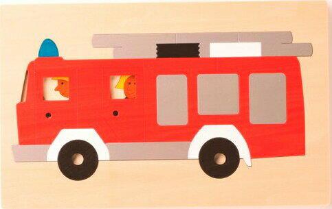 【ジョージラック】 2重パズル・消防車 パズル 木 木製 木のおもちゃ 幼児