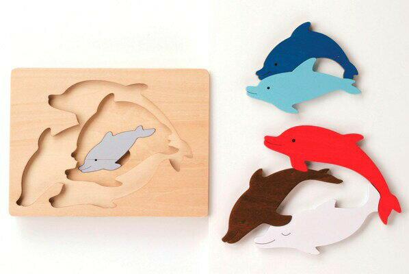 3重パズル・いるか パズル 木 木製 木のおもちゃ 幼児