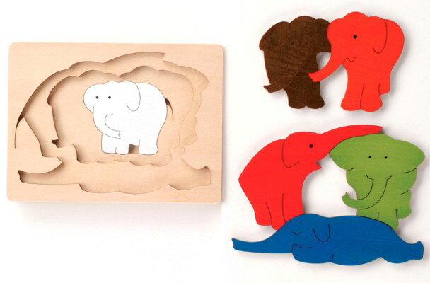 3重パズル・ぞう パズル 木 木製 木のおもちゃ 幼児