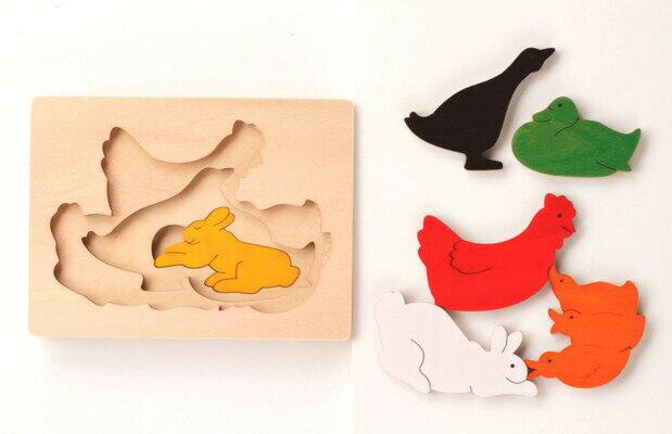 3重パズル・うさぎとにわとり パズル 木 木製 木のおもちゃ 幼児