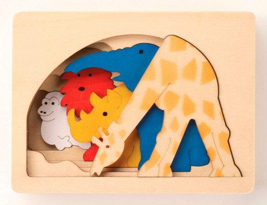 ピープパズル・きりん パズル 木 木製 木のおもちゃ 幼児