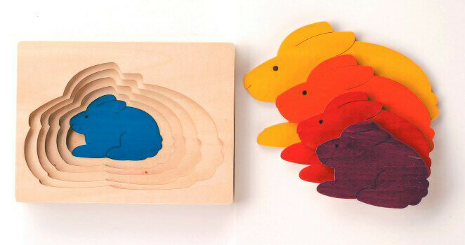 ステップパズル・うさぎ パズル 木 木製 木のおもちゃ 幼児 高級