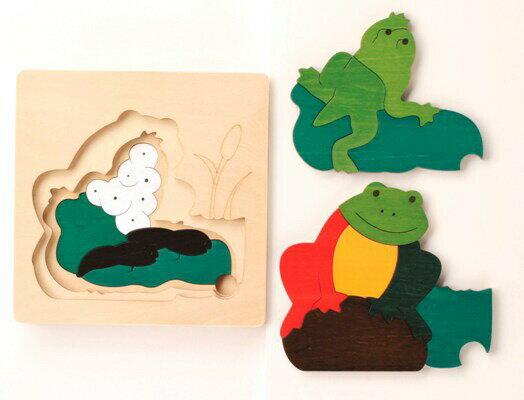 グローアップパズル・かえる パズル 木 木製 木のおもちゃ 幼児