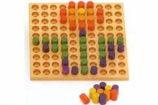 ステッキ遊び ジャンボ10×10 木のおもちゃ 点 線 知育玩具 模様づくり ペグ 棒