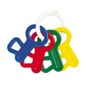 アンビトイ・ラトルキー 4色のカギ型の歯固め。振ればラトルとしても楽しめます!