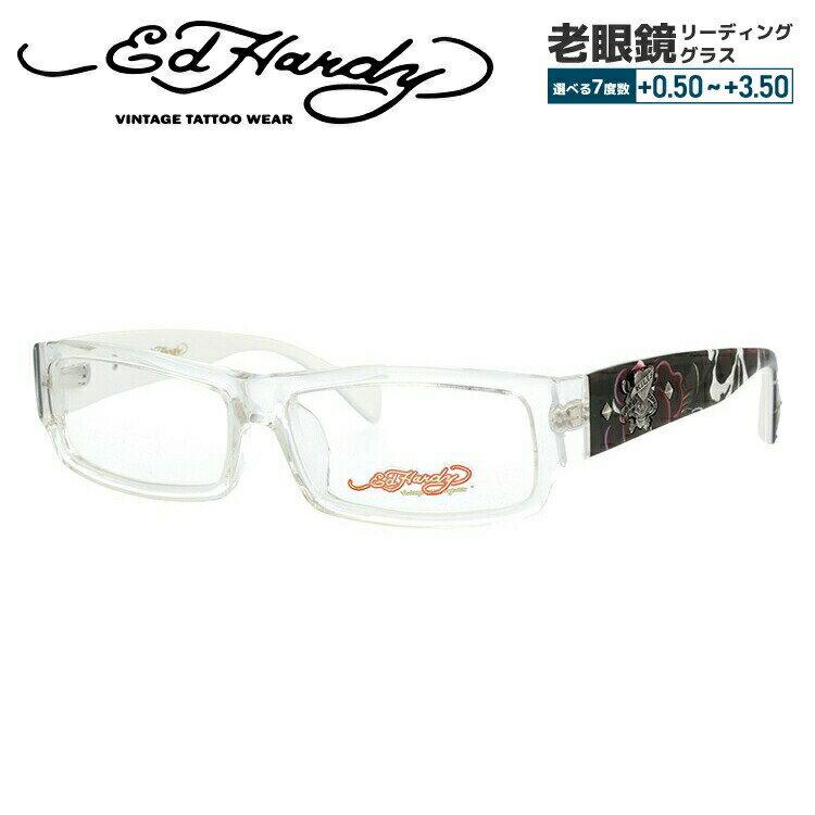 エドハーディー メガネ 伊達レンズ無料 0円 メガネフレーム EdHardy EHOA002 2 CRYSTAL クリスタル メンズ レディース UVカット