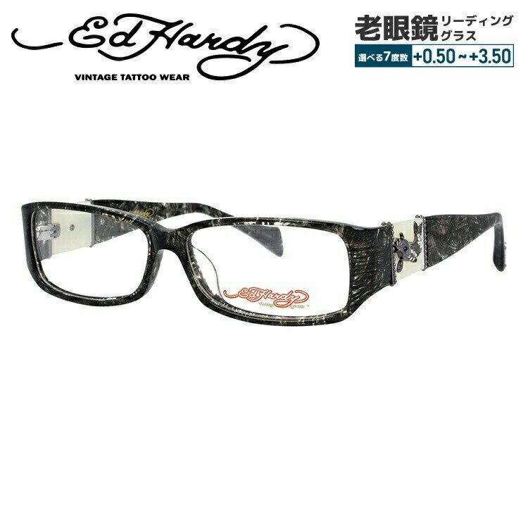 エドハーディー メガネ 伊達レンズ無料 0円 メガネフレーム EdHardy EHOA006 4 BLACK HORN ブラックホーン メンズ レディース UVカット