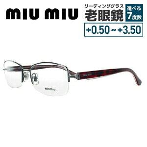 【選べる無料レンズ → PCレンズ・伊達レンズ・老眼鏡レンズ】 ミュウミュウ メガネフレーム miumiu MU51IV 5AV1O1 53 シルバー/レッド ハバナ レディースブランド UVカット 国内正規品