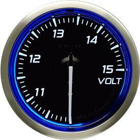 デフィ Defi レーサーゲージN2(Racer Gauge) Φ52 ホワイト(文字外周とリング部分はブルー) 電圧計