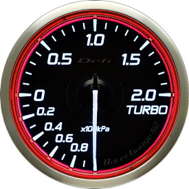 デフィ Defi レーサーゲージN2(Racer Gauge) Φ60 ホワイト(文字外周とリング部分はレッド) ターボ計 離島・沖縄配送不可