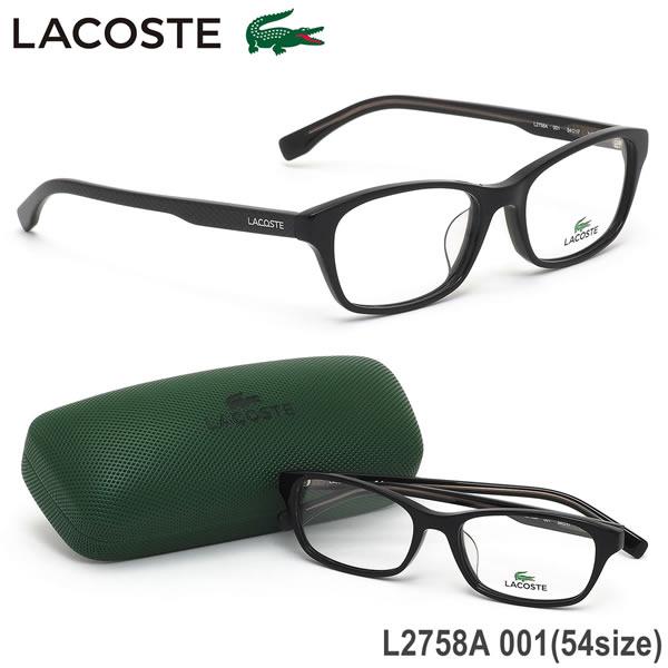 ラコステ LACOSTE メガネL2758A 001 54サイズワニ クロコダイル アジアンフィット ブラックメンズ レディース