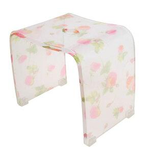 バスチェアー25型 アクリル製風呂椅子 【シアーローズ】薔薇の花柄の風呂いす(風呂いす/風呂イス)【メール便不可】【送料無料】