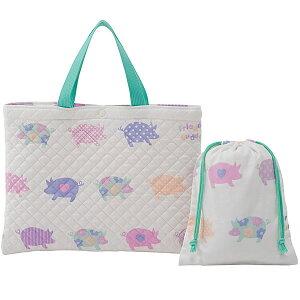【送料無料】フジキキルティングレッスンバッグ巾着袋(小物入れ)付きフレンズバディホワイト