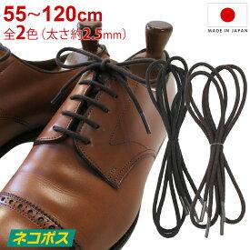 靴紐 靴ひも IPI シューレース ガス丸 中太 太さ約2.5mm 丸紐 55cm 65cm 70cm 75cm 80cm 90cm 120cm 黒 茶 ブラック ダークブラウン 革靴 ビジネスシューズ