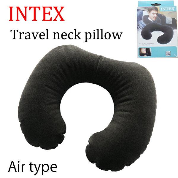 【INTEX インテックス】トラベル用ネックピロートラベル用品 エアタイプ ネックピロー 空気タイプ クロネコDM便は送料無料