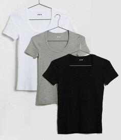 Three Dots(スリードッツ)Tシャツ レディース ジェシカ 半袖Uネック/Essential Heritage Knit Scoop Neck Tee/ブラック、ホワイト、グレー/AA1S004W【あす楽対応_関東】