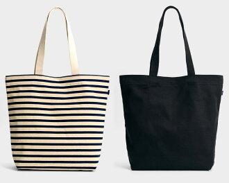 BAGGU (baguu) / canvas shopper bag /CANVAS SHOPPER BAG / border tote bag, black / Bagh 02P28Sep16