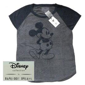 ベアフットドリームス×ディズニーコラボ ミッキーマウスラグランTシャツ/Barefoot Dreams COZYCHIC ULTRA LITE CLASSIC DISNEY MICKEY MOUSE WOMEN'S RAGLAN TEE【あす楽対応_関東】【Disneyzone】