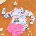 ヤシの木ハイビスカスデザイン ラッシュガード&スイムパンツセット 女の子用 スイムウェア  子供 キッズ ベビー…