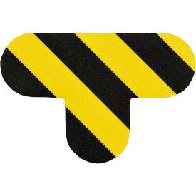 緑十字 路面表示ステッカー T型 黄/黒 QCT−TR 100×150mm 10枚組 PVC ( 403025 ) (株)日本緑十字社