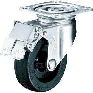 ハンマー Sシリーズオールステンレス 旋回式ゴム車輪(ナイロンホイール)100mm ストッパー付 315S-RU100BAR01 ( 315SRU100BAR01 ) ハンマーキャスター(株)