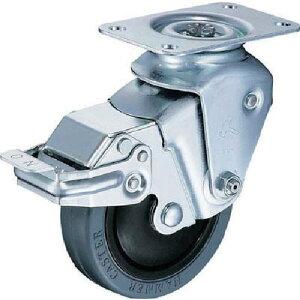 ハンマー クッションキャスター旋回式ゴム車輪 100mm 線径2.9mm ストッパー付 935BBE-FR100-29-BAR01 ( 935BBEFR10029BAR01 ) ハンマーキャスター(株)