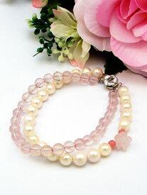 ローズクォーツ&アコヤ本真珠2連ブレスレット