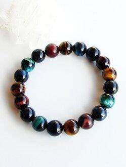 5-Color Tiger eye stone 10 mm pearl bracelet