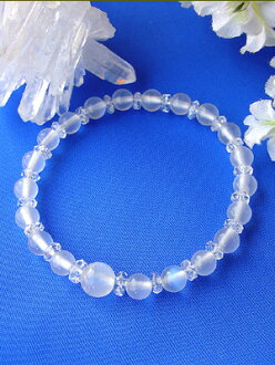 """Special price"" best class 5A class Royal Blue Moonstone Bracelet (8 & 6 mm)"