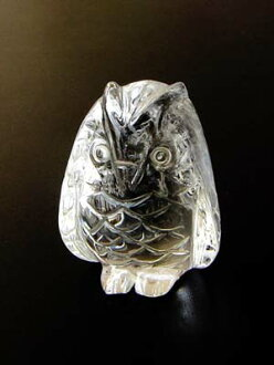 Natural quartz hand carved OWL purse w/high quality amulet handful stone (with bag)