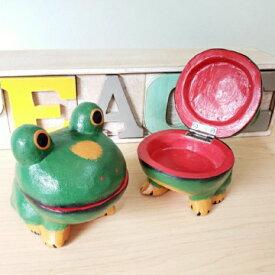 カエル 小物入れ 蛙 アクセサリーケース バリ雑貨 木彫り アジアンインテリア カエルの置物